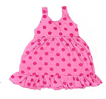 Dark Dotted Pink Baby Girls Frock (4-5 Years)