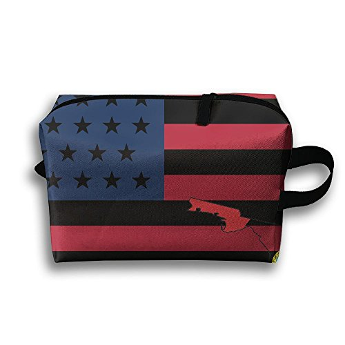 (Ming Horse USA Flag Florida Travel Portable Make-up Receive Bag Hand Cosmetic Bag With)