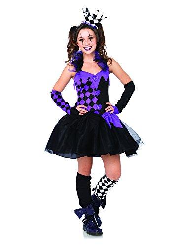 Leg Avenue Women's 4 Piece Darling Jester, Black/Purple, Medium/Large