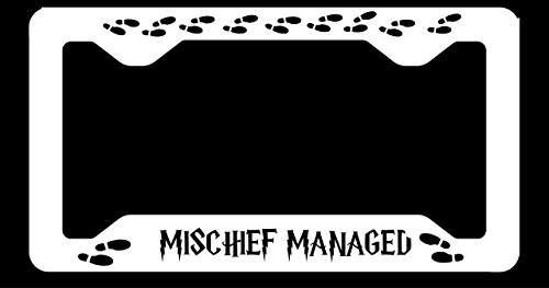 Mischief Managed Sublimation Printed White license plate frame