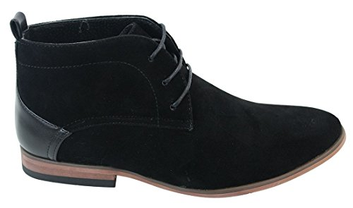 Mens Desert Ankle Boots Shoes Smart Casual Real Leather Inner Trim Laced Black