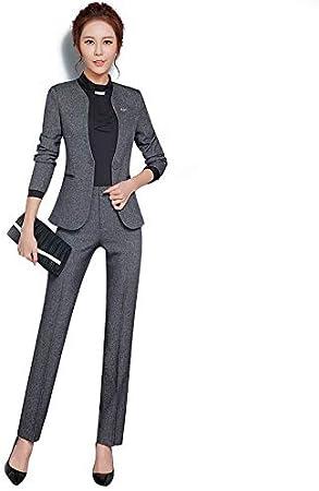 Uuyuu Trajes Formales For Mujer Ropa De Trabajo Uniforme De Oficina Disenos Trajes De Oficina De Mujer Blazers Uniforme Elegante Traje De Pantalon De Negocios Color Gray Size Xxxxl Amazon Es