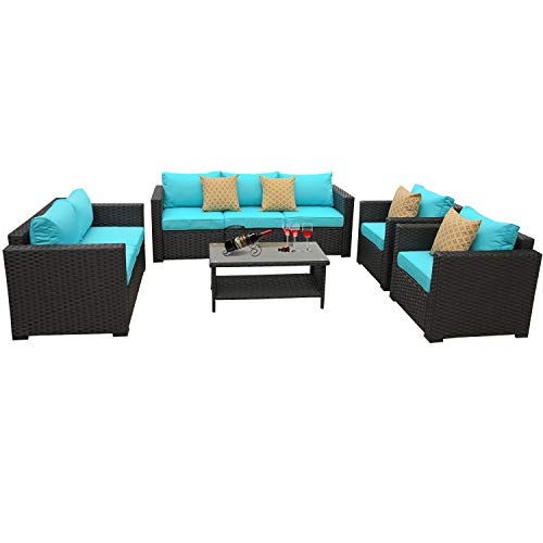 5-Piece Patio Wicker Sofa Set- Outdoor Conversation Cushioned Seat Couch PE Rattan Furniture Set-Turquoise Cushion