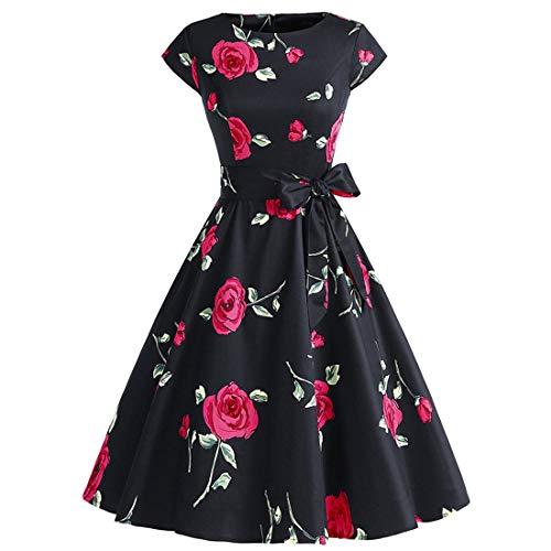 Women's 50s 60s A Line Rockabilly Dress Cap Sleeve Floral Vintage Swing Party Dress,C,L -