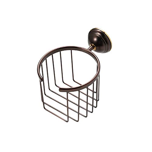 CRO DECOR Solid Brass Toilet Paper Holder Wall Mounted Bathroom Roll Tissue Wire Basket Paper Towel Storage Organizer Rack, Antique Oil Rubbed Bronze CRO-26210 ()