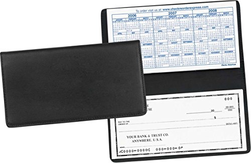 Leather Checkbook Cover Black