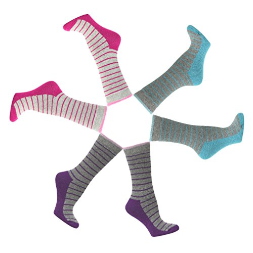 Tech Gifts 2017 Christmas - SALE 3 Pack Best Selling Pink Wool Striped Winter Cozy Ski Outdoor Sport Super Warm Women Thermal Heat Holding Crew Sock Top Quirky Healthy Unique Themed Stocking Stuffer Gift Idea for Women Teen Girl
