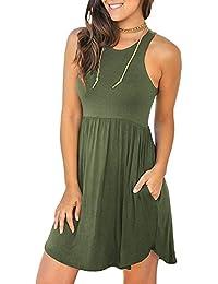 400ac3a0d8b7 Women s Sleeveless Loose Plain Dresses Casual Short Dress with Pockets