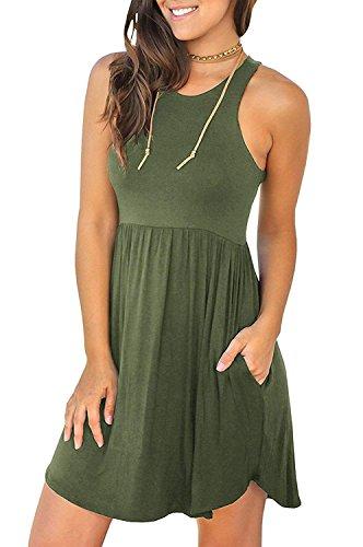 MOLERANI Women's Summer Casual T Shirt Dresses Sleeveless Swing Dress Army Green XS -