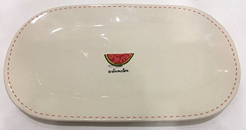 Rae Dunn Magenta Ceramic Oval Serving Platter Plate Tray featuring Watermelon Slice with Red Dash Border - Great for Summer Outdoor Serving! ()