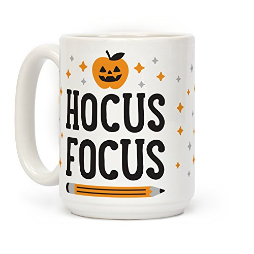Halloween Teacher Appreciation Gifts (LookHUMAN Hocus Focus White 15 Ounce Ceramic Coffee)