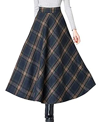 chouyatou Women's Vintage High Waisted A-Line Big Hem Maxi Plaid Wool Skirt