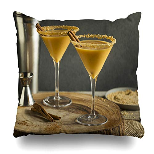 Decorativepillows Case Throw Pillows Covers for Couch/Bed 18 x 18 inch, Sweet Homemade Pumpkin Vodka Martini with Cinnamon Home Sofa Cushion Cover Pillowcase Gift Bed Car Living -