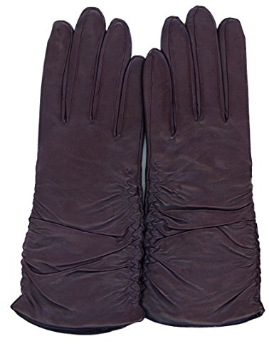 GRANDOE Women's PARIS Ruched Sheepskin Leather Glove Cashmere Blend 3 btn length (Plum, X-Large) by Grandoe