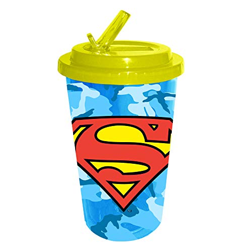 DC Comics SP110584 16-Ounce Superman Logo Camouflage Plastic Flip Straw Cold Cup Blue