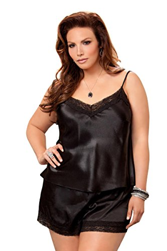 iCollection Women's Plus Size Satin and Lace Cami and Short Set, Black, 1X