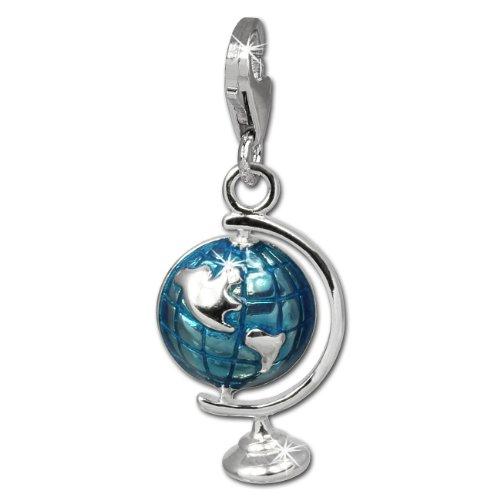 Enameled Globe Charm - SilberDream Charm globe blue enameled 925 Sterling Silver Pendant Lobster Clasp FC833B