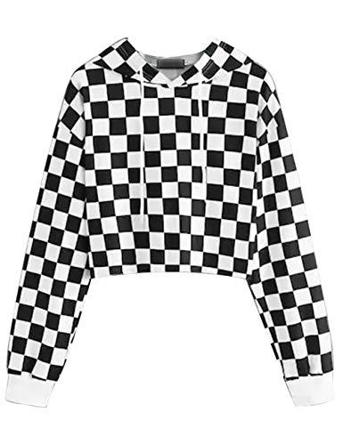 (Women's Cute Crop Top Teen Girls Cropped Hoodie Pineapple Print Sweater Jacket Sweatshirt Jumper Pullover Tops (Black 1, M))