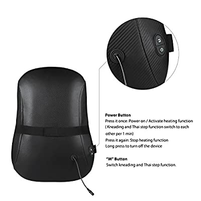 Naipo Back Massager Shiatsu Back Massage Cushion with S-track, Kneading, Thai Step Massage and Heating for Full, Upper, Lower Back and Waist