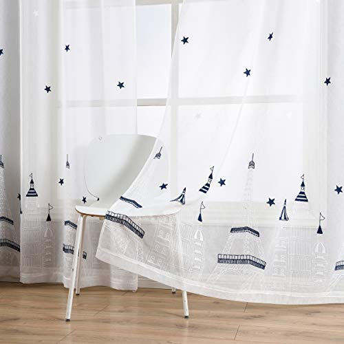 - Taisier Home Stars Sheer Curtains 95 Inches Long for Living Room and Children Room,2 Panels Stars&Tower Embroidered Sheer Curtains,Grommet Top Style(White Navy,52