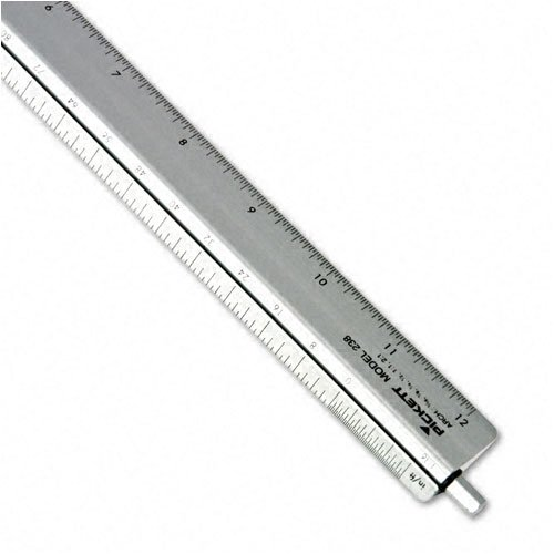 Chartpak : Adjustable Triangular Scale Aluminum Architects Ruler, 12'', Silver -:- Sold as 2 Packs of - 1 - / - Total of 2 Each by Chartpak