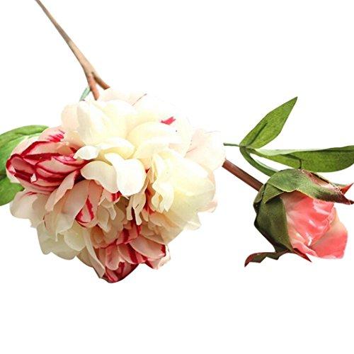 (Hot Sale!!Peony Silk Flower,Artificial Fake Bouquet Wedding Party Home Garden Decor (white))