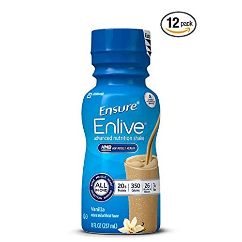 Ensure Enlive Advanced Nutrition Shake with 20 grams of protein, Meal Replacement Shakes, Vanilla, 8 fl oz - Pack of 12