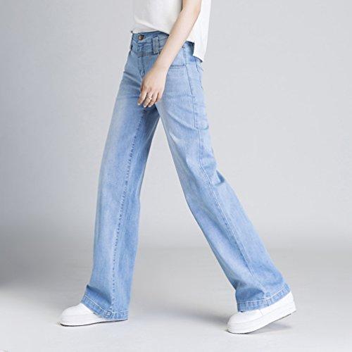 Taille Blanc Bleu Denim Haute Pantalon Lache Jeans Ample Femmes Casual Straight D't Trousers Xinwcanga q7wCtZ4