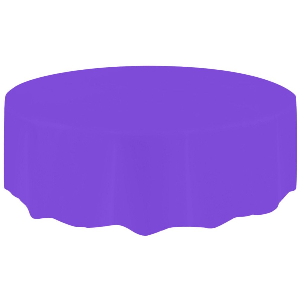 Tablecloths For Round Tables Disposable Plastic Elastic Table Cover Cloth Holiday Party Wedding Tablecloths Spillproof Tablecloth Protector (Purple)