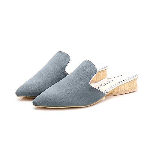 Fankou in autunno e inverno, manualmente nazionale scarpe di vento pigri spessi con scarpe di cotone wild Baotou metà pantofole ,37,5, Azzurro