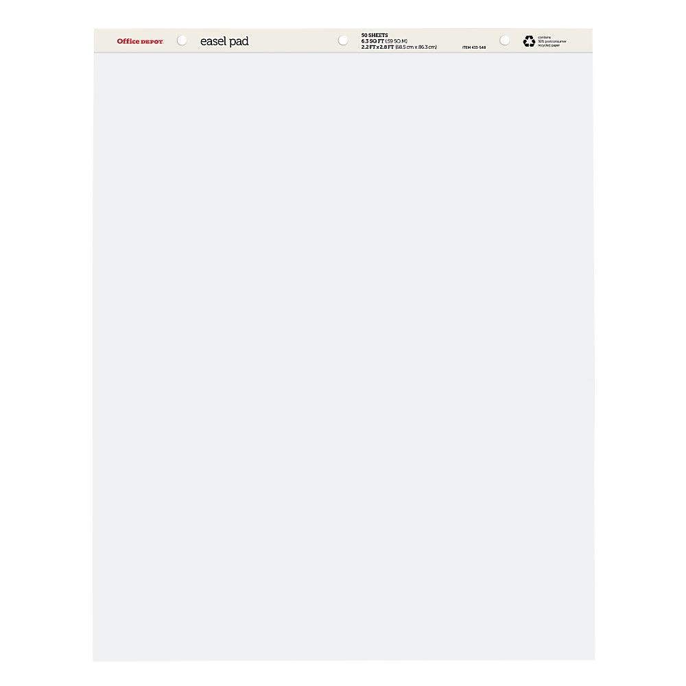 Office Depot Brand Standard Easel Pads, 34'' x 27'', 30% Recycled, White, 50 Sheets, Pack of 4 by Office Depot