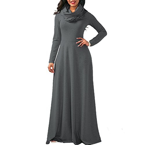 Col Casual Grande Taille Automne Printemps Lache Longue Femme Robe Gris Maxi Haut Semen Manche Uni w0xXafX