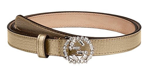 Gucci Women's Metallic Leather Crystal Interlocking GG Buckle Belt, 28, Beige by Gucci