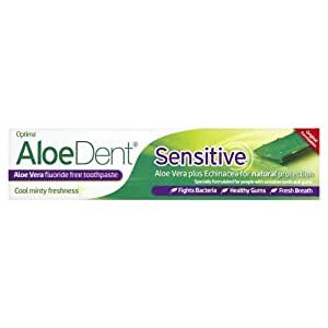AloeDent - Pasta de dientes sin fluoruro para dientes sensibles 100ml de Aloe Vera Plus Equinácea - Pack de 3