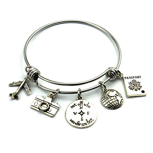 Travel Bangle Traveler Bracelet With Aircraft Camera Compass Globe Passport Charm DIY Jewelry