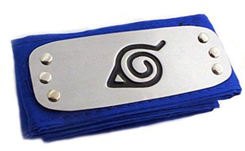[Ys&Ts Naruto Konoha Village Ninja Shinobi Cosplay Headband (Konoha, Blue)] (Konoha Shinobi Costume)