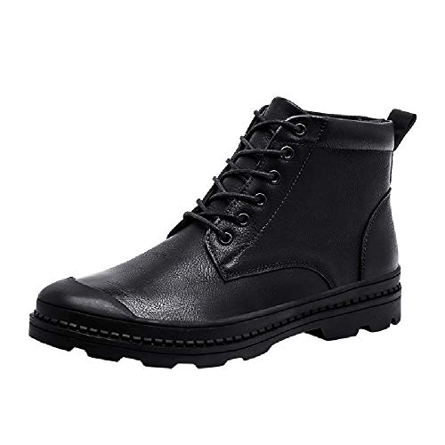 - HOSOME Men Leisure Military Boots Leather Round Toe Sport Shoe Lace-Up Flat Sneakers Black