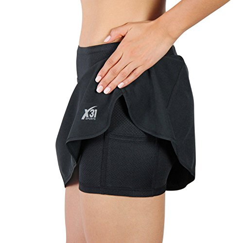 Lined Tennis Shorts (Running Skirt, Tennis Skort with Mesh Shorts and Zipper Pocket for Workout, Golf, Gym by X31 Sports (Black, Large))