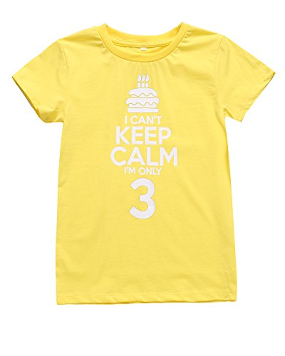 Color Changeable Little Boys Girls Funny 3rd Birthday Gift Cake T-Shirt (Yellow)