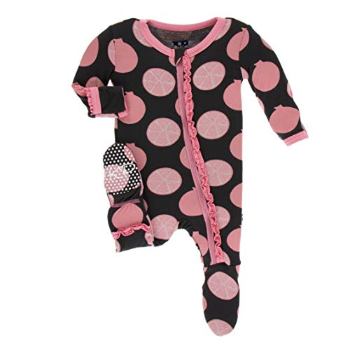 KicKee Pants Print Muffin Ruffle Footie with Zipper in Zebra Pomegranate, 9-12 Months ()