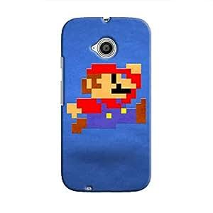 Cover It Up - Mario Pixelated Blue Moto E2 Hard Case