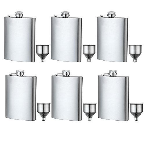 6 Pcs 8 oz Hip Stainless Flask by YWQ, Easy Pour Funnel is Included, Great Gift ()