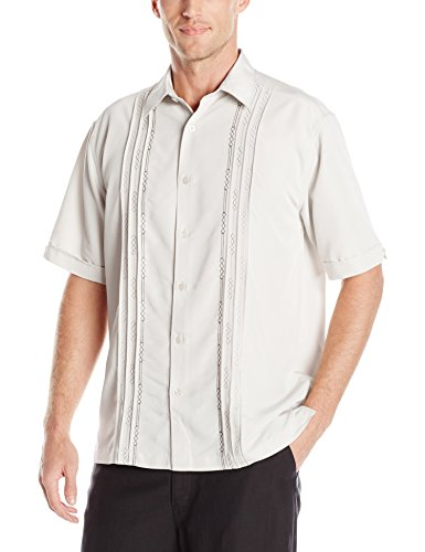 Texture Camp Shirt - Cubavera Men's Tuck with Geometric Detail Short Sleeve Woven Shirt, Moonbeam, XX-Large