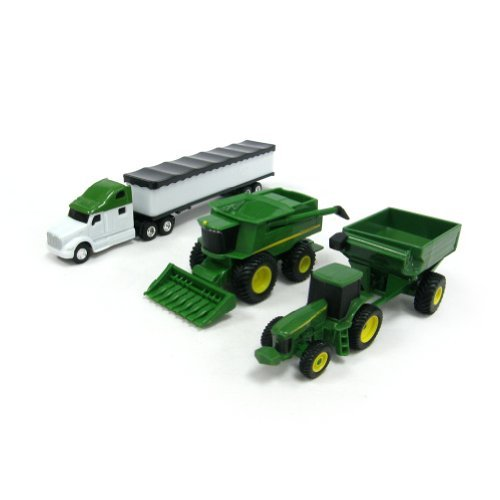 - John Deere ERTL Harvesting Set with Semi Grain Hauler, Tractor & Wagon Combo (1:64 Scale)