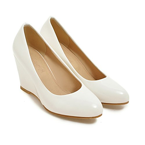 YE Damen Lackleder High Heels Keilabsatz Pumps Elegant Simple Schuhe Weiß