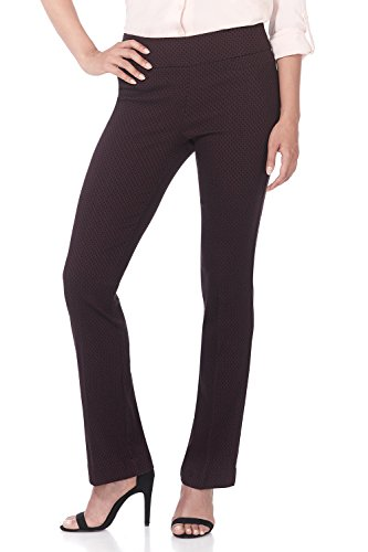 Rekucci Women's Ease in to Comfort Boot Cut Pant (6,Burgundy/Black Bubble) ()