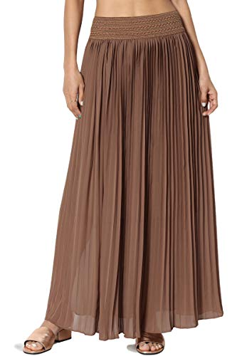 TheMogan Women's Elastic Waist Georgette Pleated Long Maxi Skirt Mocha ONE Size