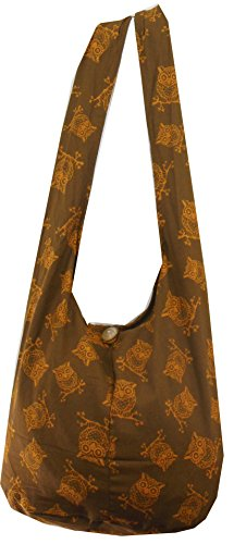NaLuck Owl Hippie Boho Vintage Sling Cross body Shoulder Messenger Bag Large Brown