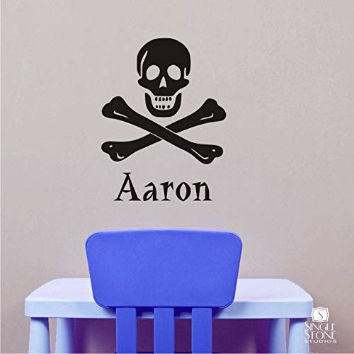 (BYRON HOYLE Nursery Skull and Crossbones Pirate Wall Decal - Personalized Name Vinyl Wall Stickers Art Custom Home Decor)