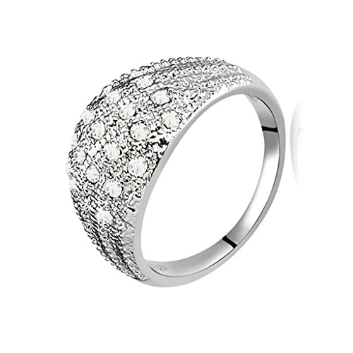 Gnzoe Womens Stainless Steel Wide Crystal White Annniversary Wedding Bands Size 7 (Double Gem Old Fashioned)